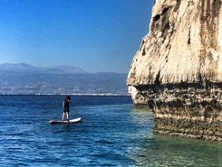 Limni Vouliagmeni paddle board spot in Greece