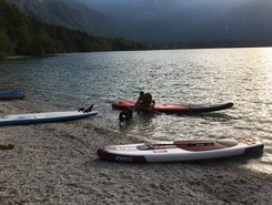 Bohinj lake paddle board spot in Slovenia