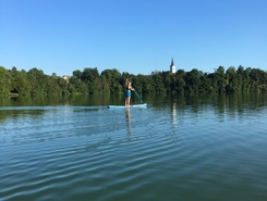 """Lake"" Trboje on Sava river paddle board spot in Slovenia"