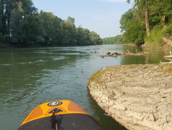 Aare Brugg paddle board spot in Switzerland